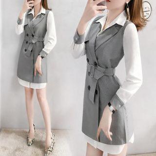 Set: Double Breasted Long Vest + Shirt Dress