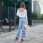 Lettering Washed Wide Leg Jeans