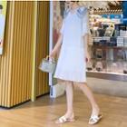 Collared Flared-sleeve Chiffon Dress