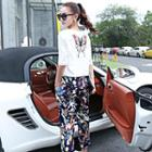 Set: Elbow-sleeve Embrodiered Top + Drawstring Printed Pants