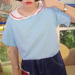 Embroidered Sailor Collar Short-sleeve T-shirt