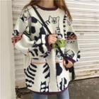 Cat Print Sweater White - One Size