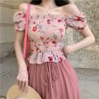 Flower Print Short-sleeve Chiffon Peplum Top