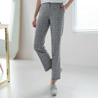 Glen-plaid Linen Blend Dress Pants