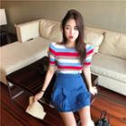 Striped Tee / Pleated Skirt