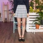 Glen-plaid Check Pleated Mini Skirt