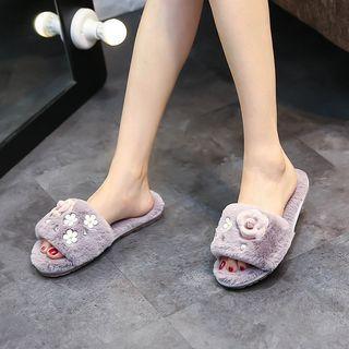 Flower Faux-fur Slippers