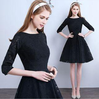 3/4-sleeve Lace Short Prom Dress
