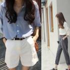 Set: Short-sleeve Loose-fit Shirt + Plain Shorts
