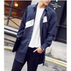 Pinstriped Letter Long Jacket