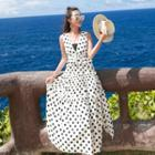 V-neck Dotted Sleeveless Midi Dress