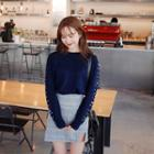 Faux-pearl Sleeve Knit Top