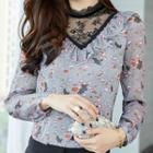 Lace Panel Long-sleeve Print Top