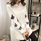 Long-sleeve Butterfly Embroidered Shirt