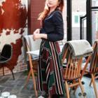 Striped Check A-line Maxi Skirt