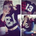 Numbering Plaid Panel Sweatshirt