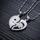 Couple Rhinestone Heart Lock Titanium Steel Necklace