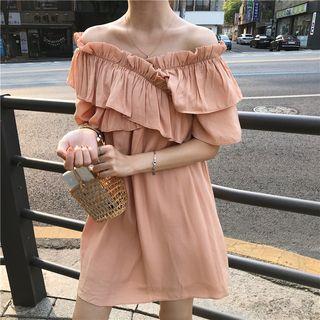 Elbow-sleeve Ruffled Mini Dress