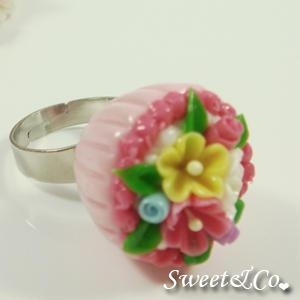 Sweet Pink Floral Mini Cupcake Silver Ring
