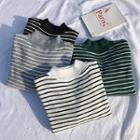 Fleece-lined Mock Neck Striped Knit Top
