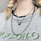 Alloy Chunky Chain Necklace / Cube Pendant Necklace
