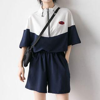 Set: Elbow-sleeve Color Block Zip Top + Wide-leg Shorts