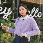 Cropped Furry Cable-knit Cardigan