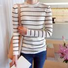 Stripe Rib-knit Top