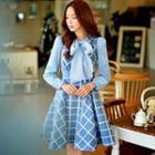 Sleeveless V-neck Wool Blend Check Dress