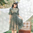 Elbow-sleeve Floral Print Cutout Dress