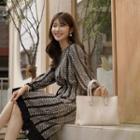 Pleated-trim Patterned Midi Dress