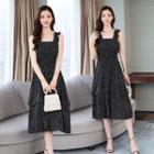 Sleeveless Dotted Midi Chiffon Dress