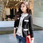 Contrast Trim Beaded Knit Jacket