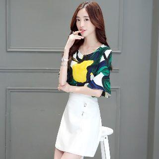 Set: Printed Ruffled Top + Skirt