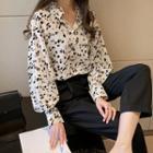 Long-sleeve Printed Frill Collar Shirt