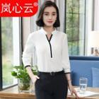 Contrast Trim V-neck Long-sleeve Blouse