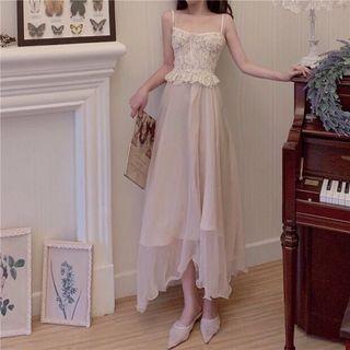 Spaghetti Strap Lace Top / Cardigan / Midi A-line Skirt
