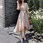 Short-sleeve Tie-front Floral Print Midi Chiffon Dress
