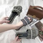 Rhinestone Ruffled Slide Sandals