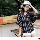 Flutter-sleeve V-neck Striped Chiffon Top