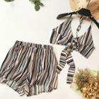 Set: Striped Tie-back Halter Top + Shorts