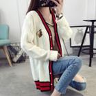 Bee Embroidered Striped Cardigan