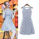 Sleeveless Pintuck Patterned Dress