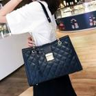 Faux Leather Quilted Push Lock Chain Strap Shoulder Bag