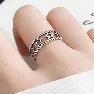 925 Sterling Silver Star Layered Open Ring Silver - One Size