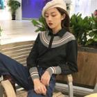 Striped Knit Panel Shirt