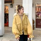 Furry Hooded Shirred Padded Jacket