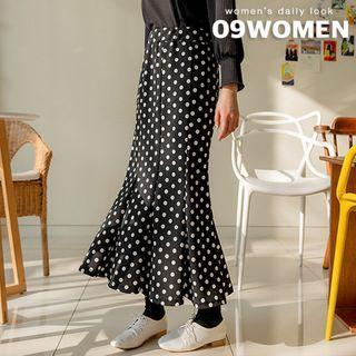 Plain / Dotted Maxi Mermaid Skirt