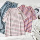 Rainbow Embroidered Striped T-shirt