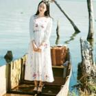 Long-sleeve Embroidery Long Dress